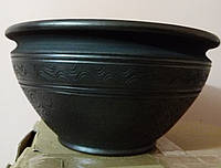 Макітра чорна глиняна