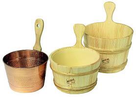 Аксессуары для сауны (шайка, лейка, термометр, веник, шапки для бани)