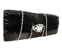 Клатч атласный женский черный с брошью 32733-12