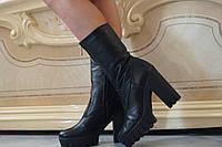 Женские весенние кожаные полусапожки на каблуке и тракторной подошве. Арт-0471