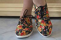 Женские цветные стильные тканевые мокасины на шнурках с цветочным принтом. Арт-0472