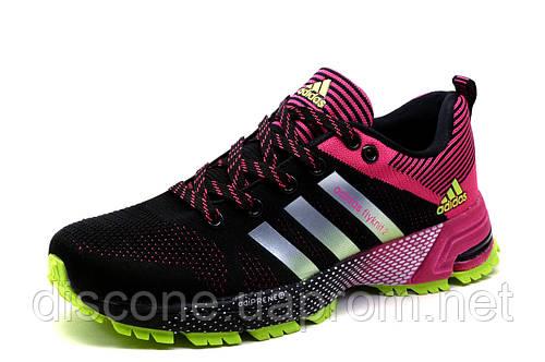 Кроссовки Adidas Flyknit2, женские/подросток, черно-малиновые, р. 36