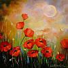 «Маки при лунном свете» картина маслом
