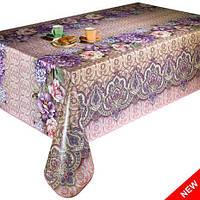 Клеенка на стол цветочки в фиолетово-бежевом цвете, Новинка!