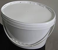 Пластиковое ведро овальное 11л. белое, герметичное, с контрольной пломбой, ручкой и крышкой