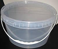 Пластиковое ведро овальное 11л. прозрачное, герметичное, с контрольной пломбой, ручкой и крышкой