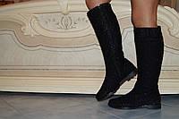 Высокие женские черные сапоги на змейке  . Арт-0487, фото 1