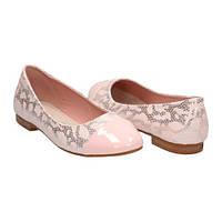 Женские балетки розовые под рептилию с лаковым носком