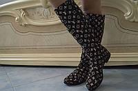 Высокие женские стильные коричневые сапоги в стиле в стиле Луи Витон . Арт-0492, фото 1
