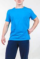 Футболка мужская голубая хлопковая , фото 1