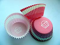 Форма для кекса бумажная. Розовая в полоску
