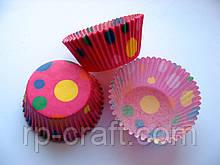 Форма для кекса бумажная. Розовая в цветной горошек