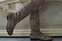 Высокие женские стильные сапоги с орнаментом . Арт-0497, фото 1