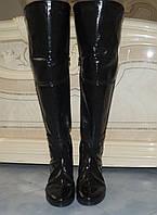 Высокие женские стильные черные лакированные сапоги-ботфорты. Арт-0191