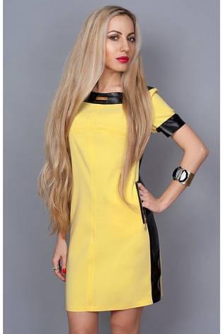 Платье с отделками из кожи желтое, фото 2