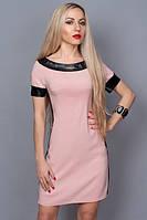 Платье с отделками из кожи розовое