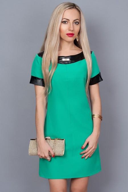 Платье бирюзовое с кожаными обводками