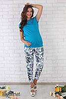 """Стильные летние брюки для беременных """"Dioni"""", синий орнамент на молоке"""