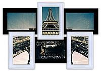 Деревянная фоторамка коллаж  на 6 фото Классика, черно-белая