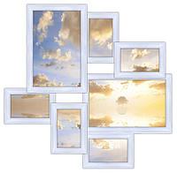 Деревянная рамка для коллажа на 7 фото Волна любви, белая