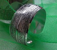 Браслет широкий винтажный, тибетское серебро