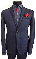 Трикотажный мужской приталенный пиджак №21- 0323
