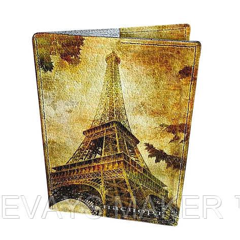 Обложка на паспорт кожаная Осенний париж, фото 2