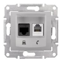 Розетка Schneider-Electric Sedna Телефонная+комп. UTP кат. 6 алюминий. SDN5200160