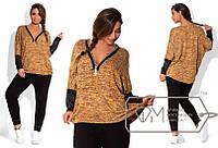 Женский спортивный костюм трикотажные штаны по косточки + кофта тонкая вязка с эко кожей батальный