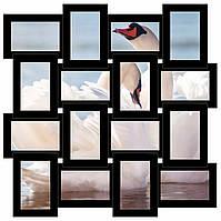 Деревянная рамка коллаж на 16 фото Портфолио, черная