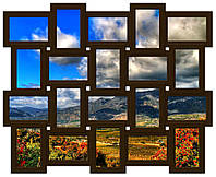Деревянный фотоколлаж на 20 фото На память, шоколад (венге)