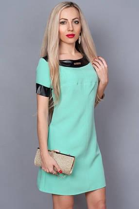 Платье мята с кожаными отделками, фото 2