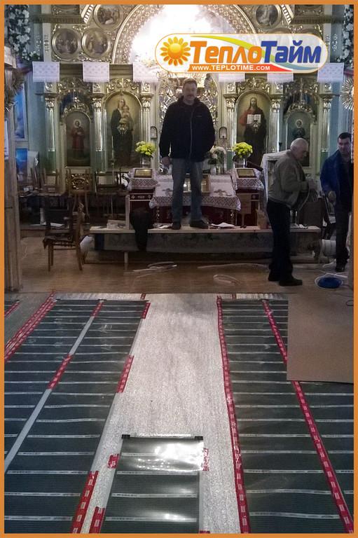 Монтаж інфрачервоної плівки Heat Plus Stripe в церкві.