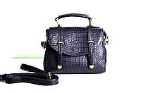 Брендовая женская сумка рептилия черная