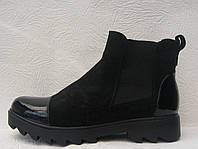 Ботинки женские стильные на тракторной подошве со вставками