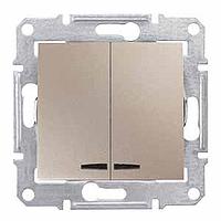Выключатель Schneider-Electric Sedna 2-клавишный с инд. титан. SDN0300368