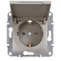 Розетка Schneider-Electric Asfora Plus з кришкою, заземленням бронза. EPH3100169