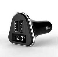 Зарядное устройство 2 usb with LCD, чёрное