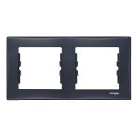 Рамка Schneider-Electric Sedna 2-поста горизонтальная графит SDN5800370