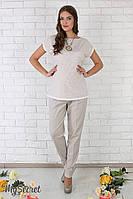 """Стильные льняные брюки для беременных """"Dakota"""", серо-бежевые"""