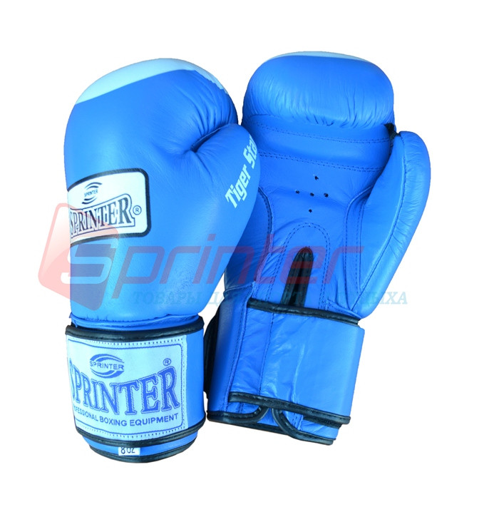 Перчатки боксерские«TIGER-STAR» Кожа. Синие, 10 унций.