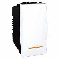 Переключатель Schneider-Electric Unica 1-клавишный проход. 16А с подствет. белый. MGU3.163.18S
