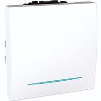 Переключатель Schneider-Electric Unica 1-клавишный проход. 16А с инд. белый. MGU3.263.18N