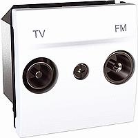 Розетка Schneider-Electric Unica TV-FM проходная белая. MGU3.453.18