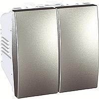 Выключатель Schneider-Electric Unica 2-клавишный алюминий. MGU3.211.30
