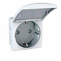 Розетка Schneider-Electric Unica з зазем., захисними шторками, кришкою білий. MGU3.037.18 TA