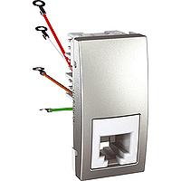 Розетка Schneider-Electric Unica телефонная 1-модуль 4 конт. RJ11 алюминий. MGU3.490.30