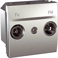 Розетка Schneider-Electric Unica TV-FM проходная алюминий. MGU3.453.30