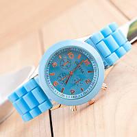 Женские наручные силиконовые часы Geneva light blue