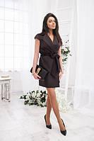 Платье женское однотонное на запах ткань мемори размеры с-м и м-л
